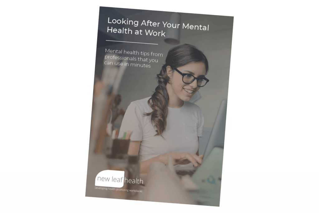 Looking after your mental health at work PDF guide front cover